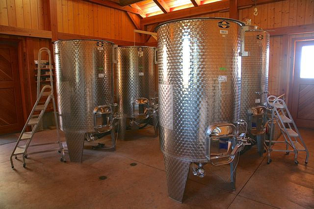 Fermentation tanks in the winery